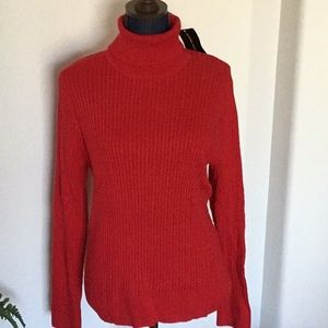 JEANNE PIERRE XL RED TURTLE NECK CABLE SWEATER